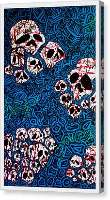 Skulls Of Babylon On Blue Canvas Print
