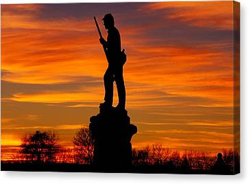Sky Fire - 128th Pennsylvania Volunteer Infantry A1 Cornfield Avenue Sunset Antietam Canvas Print by Michael Mazaika