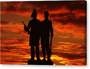 Sky Fire - 73rd Ny Infantry Fourth Excelsior Second Fire Zouaves-a1 Sunrise Autumn Gettysburg Canvas Print by Michael Mazaika