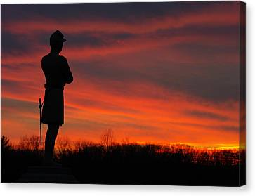 Sky Fire - Aotp 124th Ny Infantry Orange Blossoms-2a Sickles Ave Devils Den Sunset Autumn Gettysburg Canvas Print by Michael Mazaika