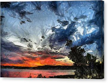 Canvas Print featuring the painting Sky by Georgi Dimitrov