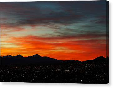 Sky On Fire -- Butte Mt Canvas Print by Kevin Bone