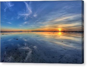 Sky Reflection In Boundary Bay Canvas Print by Pierre Leclerc Photography