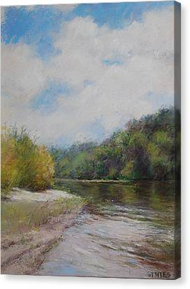 Sky River Trees  Canvas Print by Nancy Stutes