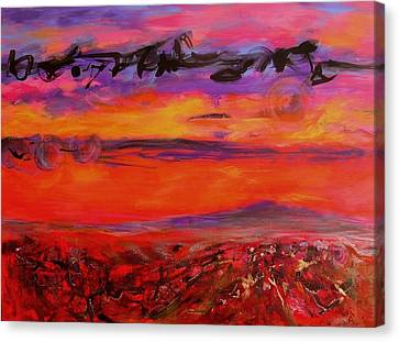 Canvas Print featuring the painting Sky Writing by Mary Schiros