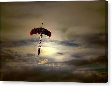 Evening Skydiver Canvas Print by Dyle   Warren