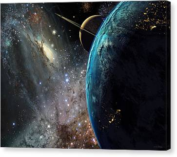 Astronomy Canvas Print - Galaxies Collide Over Terraformed Titan by Don Dixon