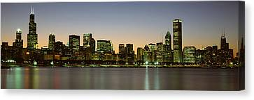 Skyline At Dusk Chicago Il Usa Canvas Print by Panoramic Images