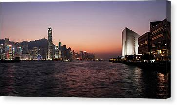 Skyline At Waterfront During Dusk Canvas Print