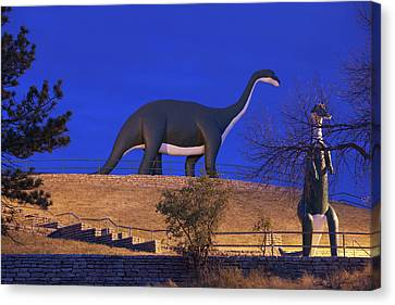 Skyline Drive Dinosaur Statues At Dawn Canvas Print by Panoramic Images