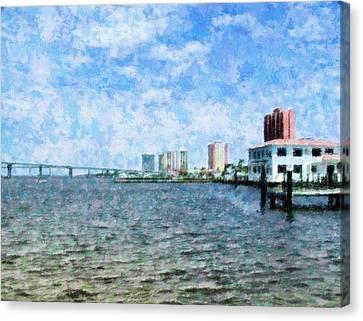 Florida Bridge Canvas Print - Skyline Ft. Myers by Florene Welebny