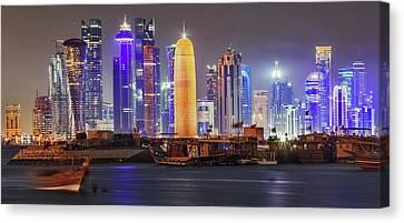 Skyline In Doha Canvas Print by Babak Tafreshi