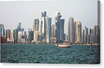 Skyline In Doha Canvas Print by Bob Edwards
