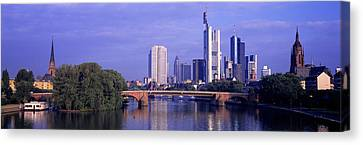 Historic Architecture Canvas Print - Skyline Main River Frankfurt Germany by Panoramic Images