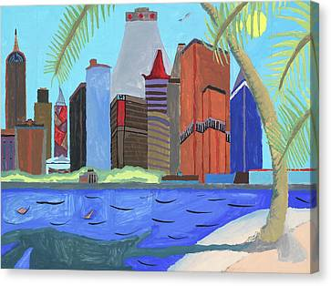 Canvas Print featuring the painting Skyline by Artists With Autism Inc