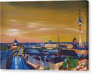 Skyline Of Berlin At Sunset Canvas Print by M Bleichner