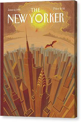Skyline Of Nyc At Sunset With Icarus Flying Close Canvas Print by Eric Drooker
