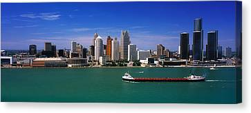 Skylines At The Waterfront, River Canvas Print by Panoramic Images