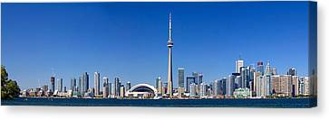 Skylines In A City, Cn Tower, Toronto Canvas Print by Panoramic Images