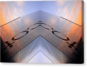 Skynet Building In Glass  Canvas Print