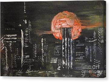 Skyrise Moon Canvas Print by PainterArtist FIN