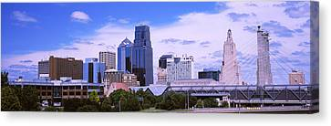 Skyscraper And Broadway Bridge Canvas Print by Panoramic Images