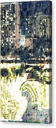 Skyscraper Reflection Painting Canvas Print by PainterArtist FIN