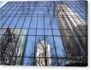 Skyscraper Reflections - Charlotte Nc Canvas Print by Shelia Kempf