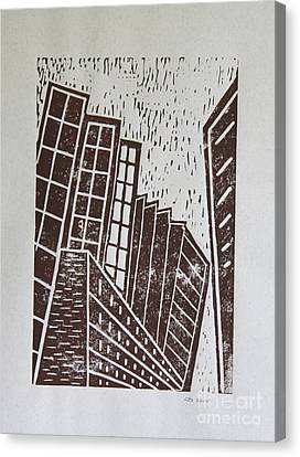 Skyscrapers - Block Print Canvas Print by Christiane Schulze Art And Photography