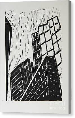 Skyscrapers II - Block Print Canvas Print by Christiane Schulze Art And Photography