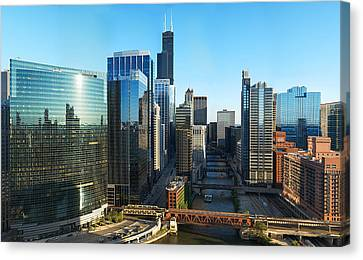 Chicago River Canvas Print - Skyscrapers In A City, Willis Tower by Panoramic Images