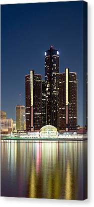 Skyscrapers Lit Up At Dusk, Renaissance Canvas Print by Panoramic Images