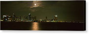 Skyscrapers Lit Up At Night, Coronado Canvas Print by Panoramic Images