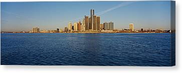 Skyscrapers On The Waterfront, Detroit Canvas Print