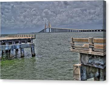 Skyway Bridge New And Old Canvas Print