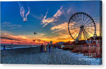 Skywheel Sunset At Myrtle Beach Canvas Print