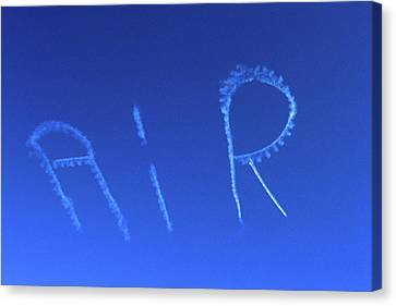 Smoke Trail Canvas Print - Skywriting The Letters Air In Cloudless by Vintage Images