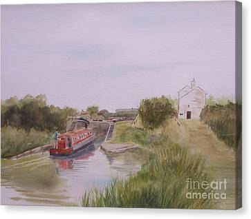 Canvas Print featuring the painting Slapton Lock by Martin Howard