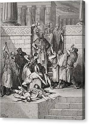 Slaughter Of The Sons Of Zedekiah Before Their Father Canvas Print by Gustave Dore