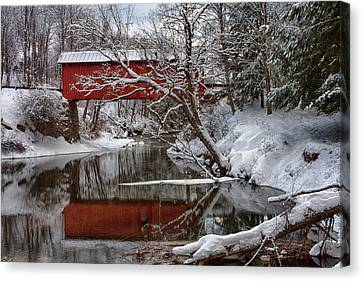 Slaughterhouse Covered Bridge Above Dog River Canvas Print by Jeff Folger