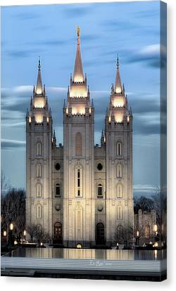 Late Canvas Print - Slc Temple Blue by La Rae  Roberts