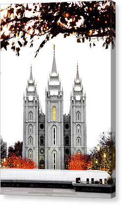 Slc White N Red Temple Canvas Print by La Rae  Roberts