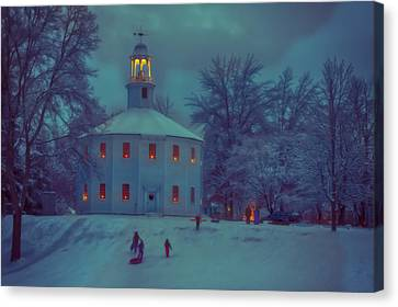 Sledding At The Old Round Church Canvas Print by Jeff Folger