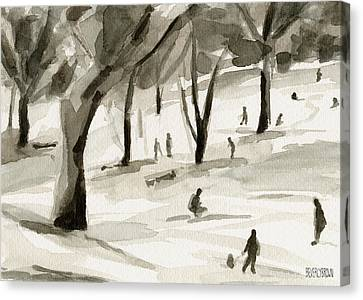 Sledding In The Snow Watercolor Painting Of Central Park Nyc Canvas Print by Beverly Brown