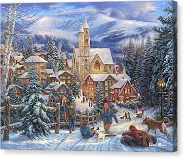 Sledding To Town Canvas Print by Chuck Pinson