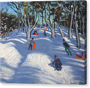 Sledging At Ladmanlow Canvas Print by Andrew Macara