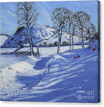 Sledging  Derbyshire Peak District Canvas Print by Andrew Macara