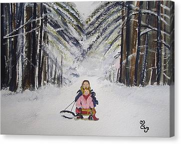 Sledging In The Wood Canvas Print