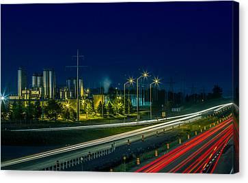 Sleeman Brewery At Night Canvas Print by Nick Mares