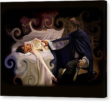 Sleeping Beauty And Prince Canvas Print by Angela Castillo